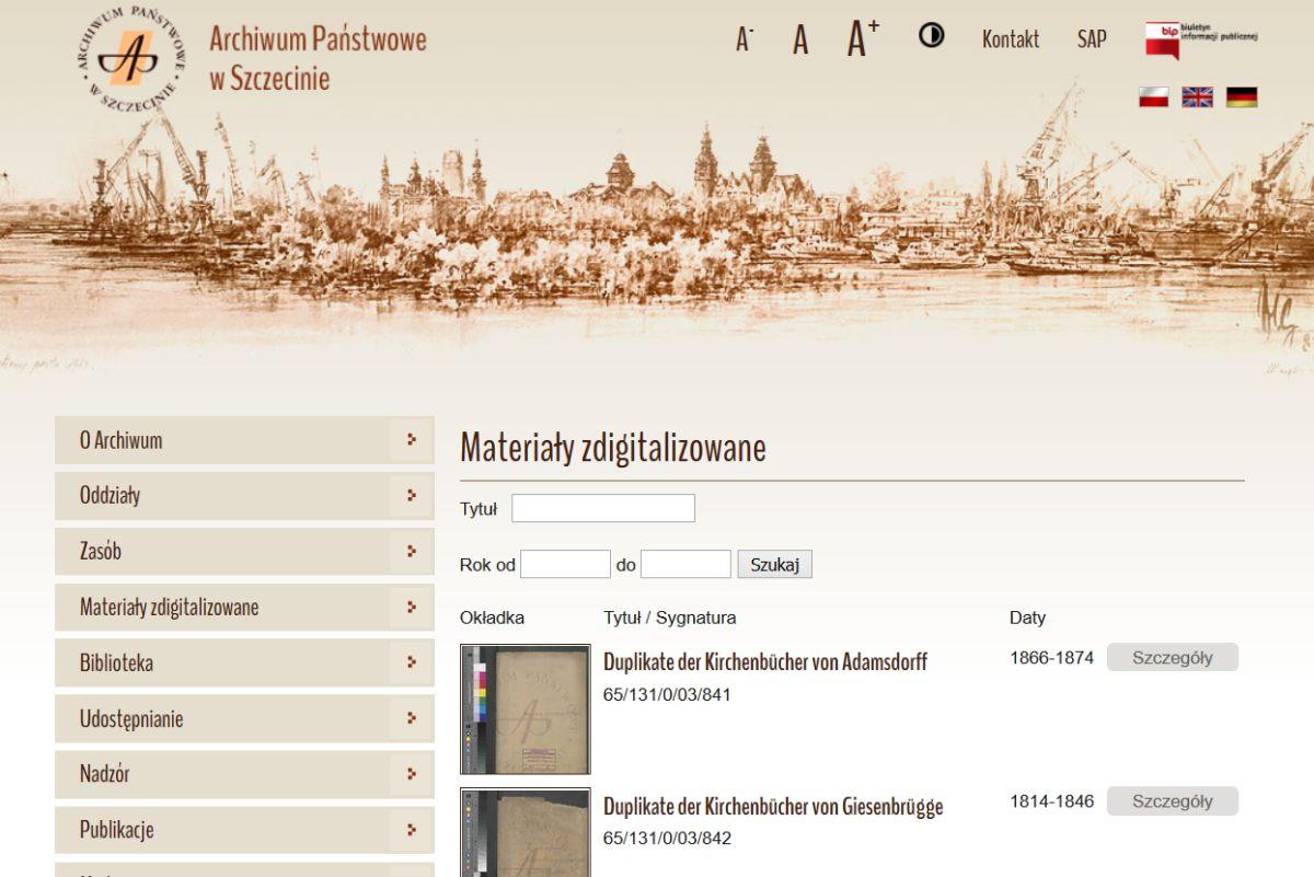 Staatsarchiv Stettin - Liste der online Bestände